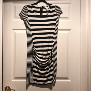 MATERNITY black and white stripe dress.
